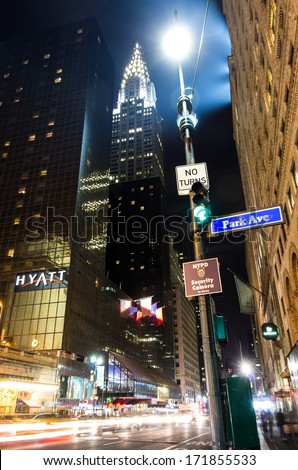 NEW YORK - DECEMBER 21,2013: the Chrysler Building on Park ave,New York. It was the world's tallest building before it was surpassed by the Empire State Building in 1931 - stock photo