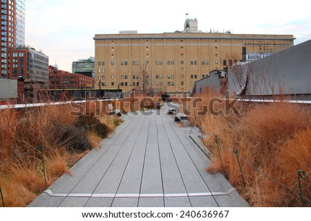 NEW YORK - DECEMBER 2013: The High Line Park, New York, December 25, 2013. The High Line is a popular linear park built on the elevated train tracks above Tenth Ave in New York City. - stock photo
