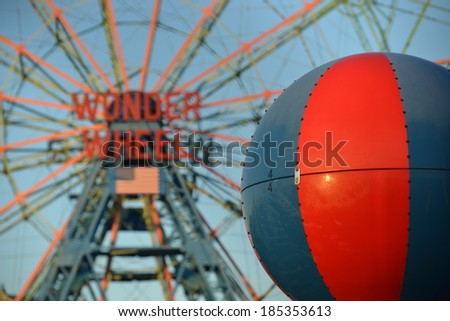 NEW YORK - DECEMBER 28, 2013: The Wonder Wheel located at Deno's Wonder Wheel Amusement Park in Coney Island, Brooklyn, NY on December 28, 2013 while shut down for the winter. - stock photo