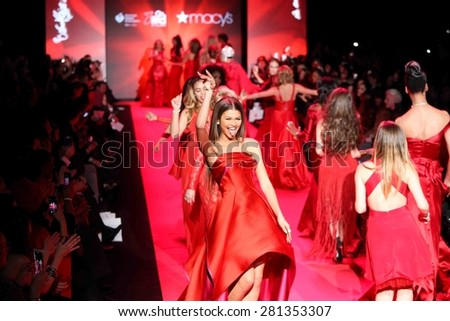 NEW YORK-FEB 12: Actress Zendaya walks the runway at Go Red for Women-The Heart Truth Red Dress Collection at Mercedes-Benz Fashion Week at Lincoln Center on February 12, 2015 in New York City. - stock photo