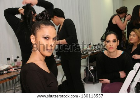 NEW YORK - FEBRUARY 10: A general view to showcase 1 backstage with models getting ready for Runway show at Metropolitan Pavilion during Small Boutique Fashion Week on February 10, 2013 in NYC. - stock photo