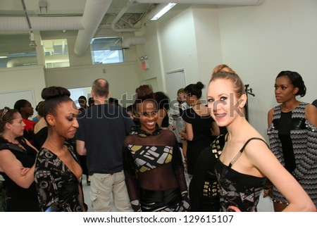 NEW YORK - FEBRUARY 10: A genral view to showcase 1 backstage with models getting ready for Runway show at Metropolitan Pavilion during Small Boutique Fashion Week on February 10, 2013 in NYC. - stock photo