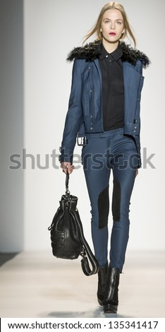 NEW YORK - FEBRUARY 13: A model is walking the runaway at Rachel Zoe Show for Fall/Winter 2013 Collection during Mercedes-Benz Fashion Week on February 13, 2013 in New York - stock photo