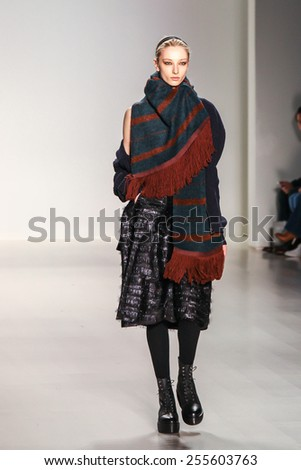 NEW YORK - FEBRUARY 12: A model walks the runway at the Richard Chai Fall/Winter 2015 collection during Mercedes-Benz Fashion Week in New York on February 12, 2015. - stock photo