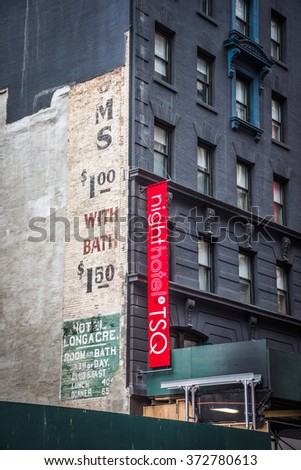 NEW YORK-FEBRUARY 5 - An old ad from the historic Hotel Longacre from about 1910 was exposed after taking down adjoining building on 47th St. Photo taken on February 5, 2016 in New York City. - stock photo