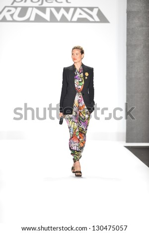 NEW YORK - FEBRUARY 08: Heidi Klum walks the runway at the Project Runway Fall Winter 2013 fashion show during Mercedes-Benz Fashion Week on February 8, 2013 in New York City. - stock photo