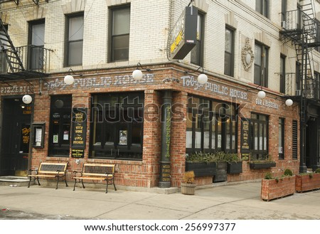 NEW YORK - FEBRUARY 26, 2015: Italian restaurant in historic Little Italy in lower Manhattan. This landmark Italian neighborhood is known for its restaurants and annual Feast of San Genarro. - stock photo