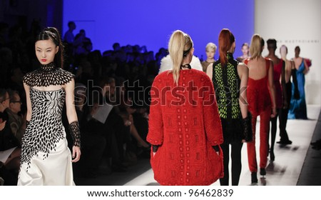 NEW YORK - FEBRUARY 15: Models walk on runway for collection by Joanna Mastroianni during Fashion week at Lincoln Center in Manhattan on February 15, 2012 in New York City - stock photo