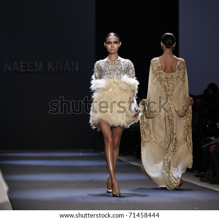 NEW YORK - FEBRUARY 17: Models walk runway for collection by Naeem Khan at Mercedes-Benz Fall/Winter 2011 Fashion Week on February 17, 2011 in New York City. - stock photo