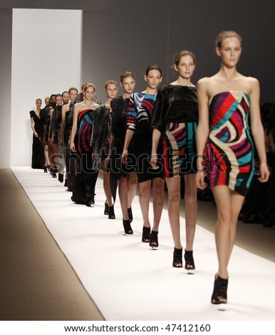 NEW YORK - FEBRUARY 15: Models walk the runway for Carlos Miele Collection during Fall 2010 at Mercedes-Benz Fashion Week on February 15, 2010 in New York - stock photo