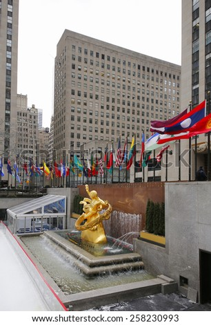 NEW YORK - FEBRUARY 26, 2015: Statue of Prometheus at the Lower Plaza of Rockefeller Center in Midtown Manhattan - stock photo