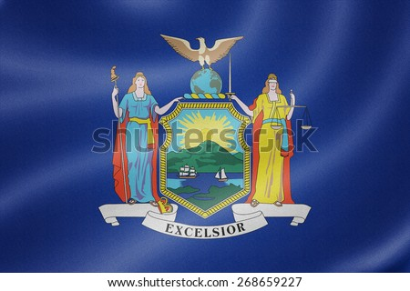 New York flag on the fabric texture background - stock photo