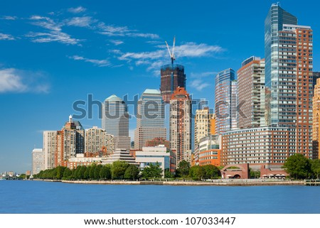 New York from Hudson river. - stock photo