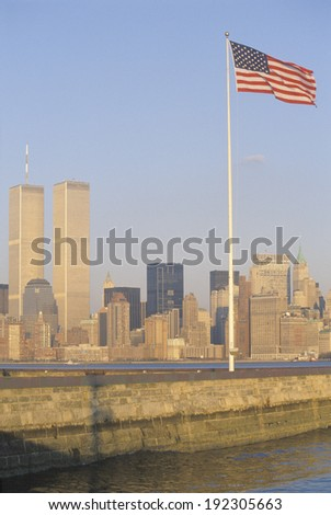 New York Harbor at sunset as seen from Ellis Island, NY - stock photo
