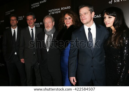 NEW YORK-JAN 5:(L-R)Michael Schaefer, Simon Kinberg, Ridley Scott, Giannina Facio, Matt Damon &Luciana Damon at 2015 National Board of Review at Cipriani 42 Street on January 5, 2016 in New York City. - stock photo