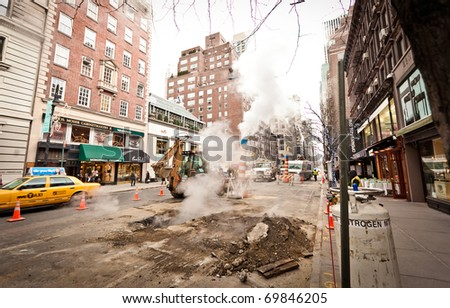 NEW YORK - JAN 6: Road works on Madison Avenue on January 6, 2011 in Manhattan, New York City - stock photo