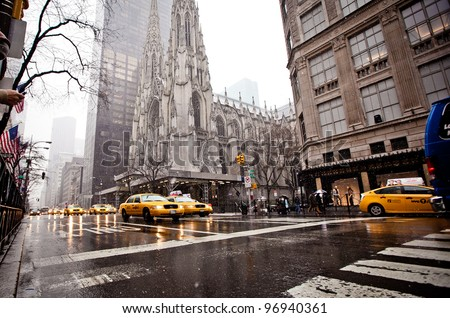 NEW YORK - JAN 7: St. Patrick Cathedral in blizzard on January 7, 2011 in Manhattan, New York City. St. Patrick's Cathedral built in 1858 is a decorated Neo-Gothic-style cathedral church in the US. - stock photo