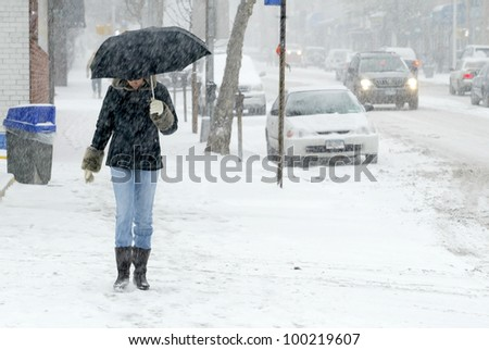 NEW YORK - JANUARY 23: A pedestrian uses an umbrella to shield herself from snowfall on January 23, 2005 in Flushing, NY. Parts of New York City area was hit with over a foot of snow. - stock photo