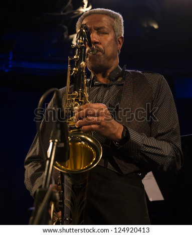 NEW YORK - JANUARY 12: Billy Harper sax performs with Billy Harper band The Cookers on stage as part of NYC Winter Jazz Festival at Le Poisson Rouge on January 12, 2013 in New York City - stock photo