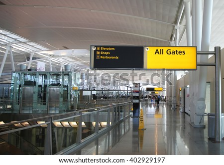 NEW YORK- JANUARY 21, 2016: Inside of Delta Airline Terminal 4 at JFK International Airport in New York. JFK is one of the biggest airports in the world with 4 runways and 8 terminals  - stock photo