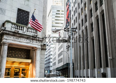 NEW YORK - January 28: New York Downtown, as seen on January 28, 2014.New York Stock Exchange - stock photo