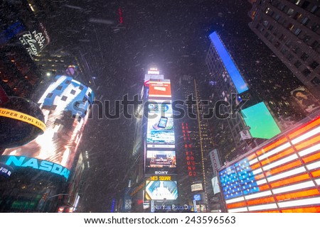 NEW YORK - January 30: New York Times Square, as seen on January 30, 2014.New York Times Square - stock photo