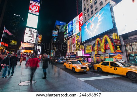 NEW YORK - January 12: New York Times Square, as seen on January 30, 2015.New York Times Square - stock photo