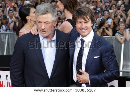 NEW YORK-JUL 27: Actors Alec Baldwin (L) and Tom Cruise attend the US Premiere of 'Mission: Impossible - Rogue Nation' in Times Square on July 27, 2015 in New York City. - stock photo