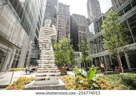 NEW YORK - JUL 22: Hero sculpture by Antonio Pio Saracino on July 22, 2014 in Bryant Park, New York. Bryant Park is a 9.603-acre public park located in the New York City borough of Manhattan. - stock photo