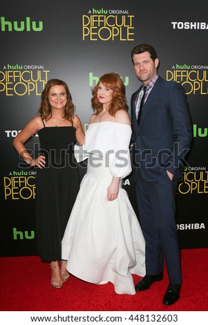 NEW YORK-JUL 30: (L-R) Actors Amy Poehler, Julie Klausner and Billy Eichner attend the Hulu Original Premiere of 'Difficult People' at the SVA Theater on July 30, 2015 in New York City. - stock photo