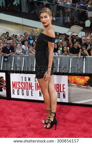 NEW YORK-JUL 27: Model Hailey Baldwin attends the US Premiere of 'Mission: Impossible - Rogue Nation' in Times Square on July 27, 2015 in New York City. - stock photo