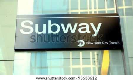 NEW YORK - JULY 15: A subway sign on July 15, 2011 in New York. In 2010, the subway delivered over 1.604 billion rides, averaging over five million (5,156,913 rides) on weekdays. - stock photo