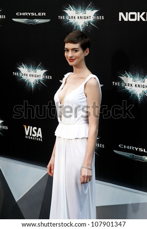 """NEW YORK-JULY 16: Actress Anne Hathaway attends the world premiere of """"The Dark Knight Rises"""" at AMC Lincoln Square Theater on July 16, 2012 in New York City. - stock photo"""