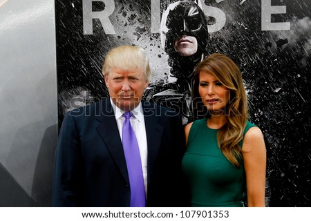 "NEW YORK-JULY 16: Donald Trump and wife Melania attend the world premiere of ""The Dark Knight Rises"" at AMC Lincoln Square Theater on July 16, 2012 in New York City. - stock photo"