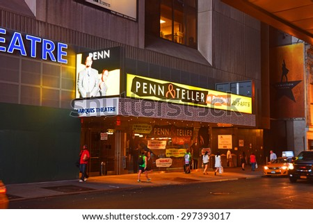 NEW YORK - JULY 12: Penn and Teller billboards announce summer shows on Broadway seen on July 12, 2015 in New York City - stock photo