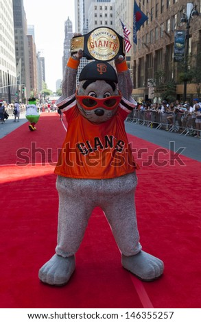 NEW YORK - JULY 16: San Francisco Giants Lou Seal poses on red carpet during the MLB All-Star Game Red Carpet Show along 42nd street on July 16, 2013 in New York - stock photo