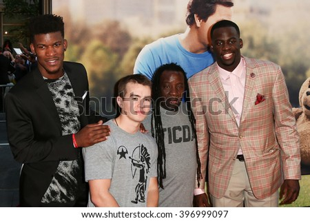 NEW YORK-JUN 24: NBA players Jimmy Butler (L) and Draymond Green (R) attend the 'Ted 2' world premiere at the Ziegfeld Theatre on June 24, 2015 in New York City. - stock photo