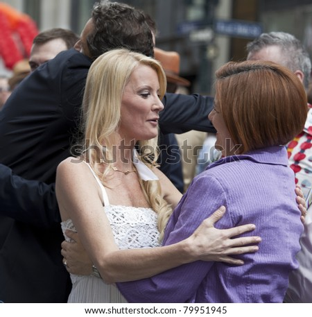 NEW YORK - JUNE 26: Christine Quinn CIty council speaker and Sandra Lee attend press conference at pride parade on June 26, 2011 in New York City, NY. - stock photo