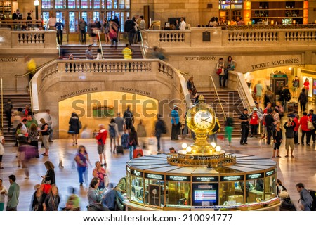 NEW YORK, JUNE 10: Commuters and tourists in the grand central station in June 10, 2013 in New York. It is the largest train station in the world by number of platforms: 44, with 67 tracks. - stock photo