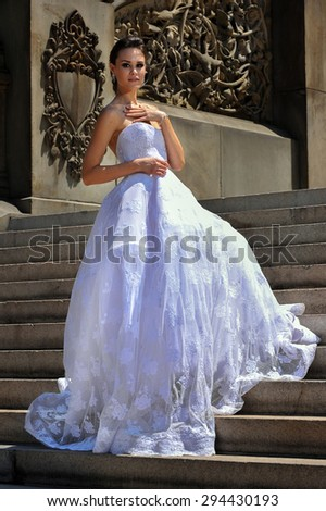 NEW YORK - June 13: Model Kalyn Hemphill pose at the Irina Shabayeva SS 2016 Bridal collection Central Park photoshoot on June 13, 2015 in New York, USA  - stock photo