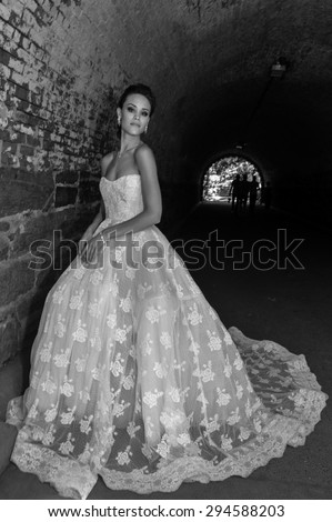 NEW YORK - June 13: Model Kalyn Hemphill pose at the Irina Shabayeva SS 2016 Bridal collection Central Park photoshoot on June 13, 2015 in New York, USA  - stock photo