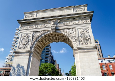 NEW YORK - JUNE 1: Washington Square Arch on June 1, 2013 in New York. The arch was built in 1892 to commemorate George Washington centennial inauguration as president.  - stock photo