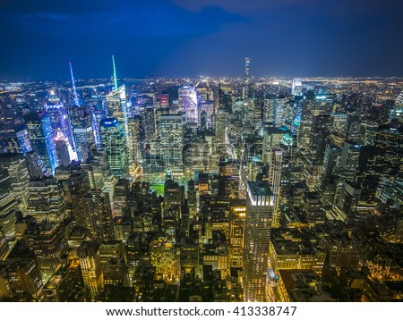 New York late sunset skyline - stock photo