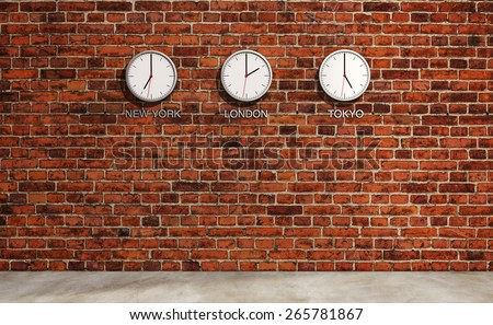 New York, London, Tokyo time 3 clocks at the brick wall retro background - stock photo