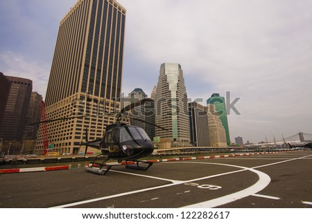 New York, Lower Manhattan - Helicopter standing by for take off - stock photo