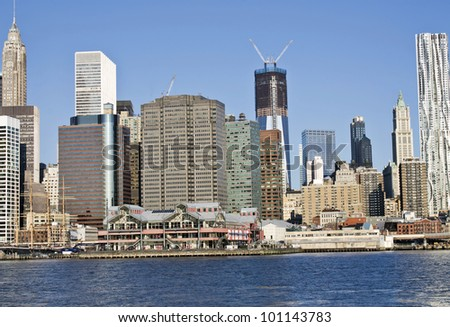 New York, Lower Manhattan in a sunny morning, South sea port, United States - stock photo
