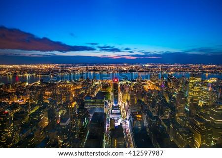 New York Manhattan at Night - stock photo