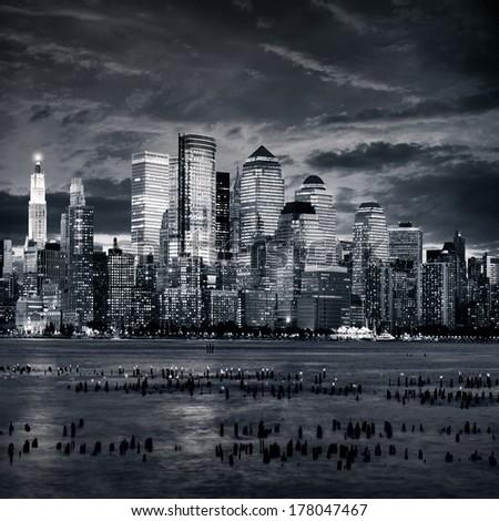 New york manhattan at sunset - stock photo