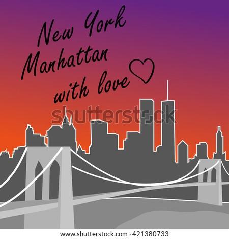 New York Manhattan card. Skyline. T-shirt design. - stock photo