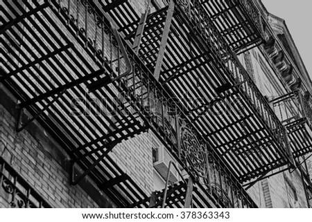 New York , Manhattan , fire escape stairs  - stock photo